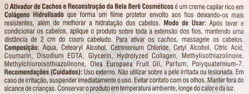 Ativador de Cachos com Colágeno Hidrolisado 1KG Bela Berê
